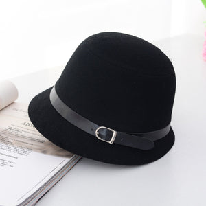 HT1225 Women Solid Wo Felt Cloche Hats Black Red Fedoras Vintage Western Bucket Hats for Women Female Bowler Hats with Belts