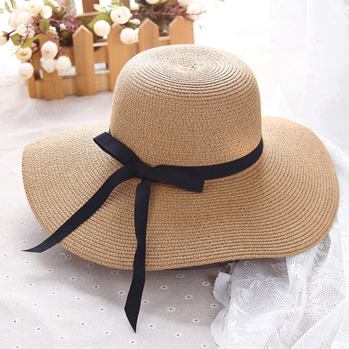 HT1299 Hot Sale Classic Women Summer Hats Large Big Wide Brim Straw Hats Black Ribbon Band Lady Floppy Beach Sun Hats Foldable