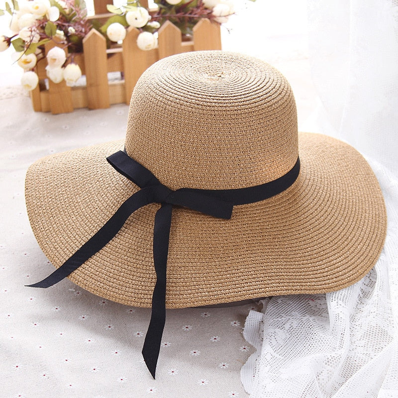HT1299 Hot Sale Classic Women Summer Hats Large Big Wide Brim Straw Hats  Black Ribbon Band Lady Floppy Beach Sun Hats Foldable 1f4b5c2a55a