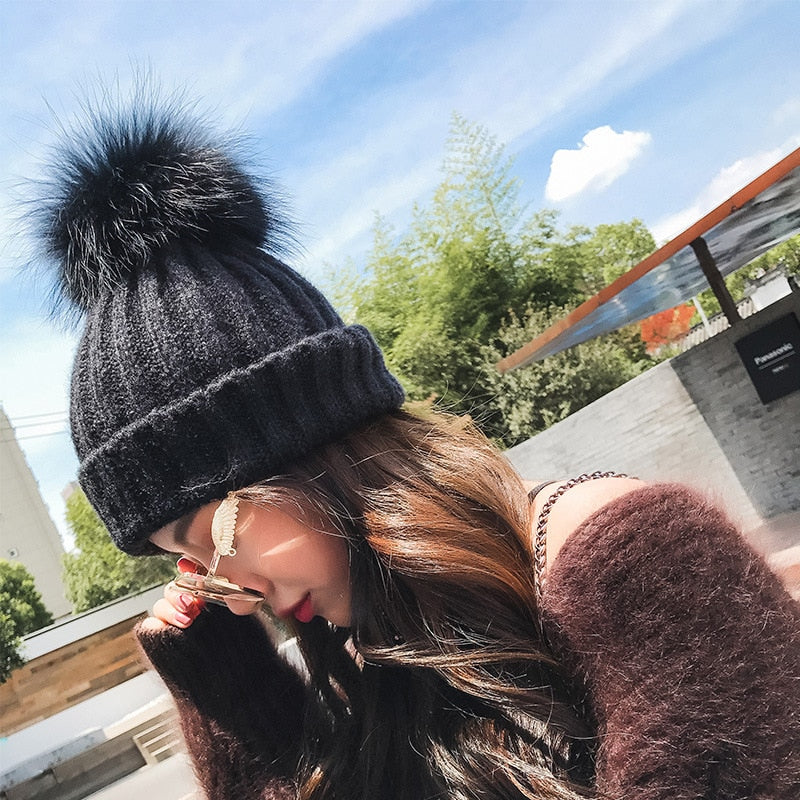 abdb104b35e HT1333 New Women Winter Hats Knit Big Fur Pom Poms Beanie Hats Thick Warm  Female Slouch Cap Hat Black Red White Skullies Beanies