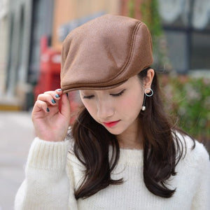 HT1357 Warm Winter Faux Leather Beret Caps Black Brown Men Women Flat Ivy Driver Cabbie Hats Thicken Fleece Lined Dad Hats Caps
