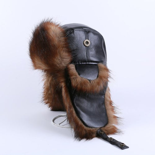 HT1382 High Quality Men Russian Ushanka Fur Hat Black Brown Leather Bomber Hats Warm Winter Hats for Men Thicken Ski Trapper Hat