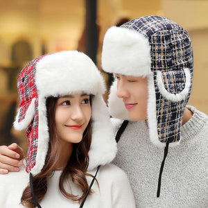 HT1385 New Men Women Bomber Hat Warm Thick Winter Fur Hat Lover Couple Ski Ear Flap Trapper Hat Christmas Snowflake Russian Hats