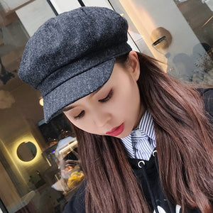 HT1901 New Women Hats for Autu Winter Solid Plain Female Berets Retro Artist Painter Newsboy Caps Wo Blend Women Beret Hats