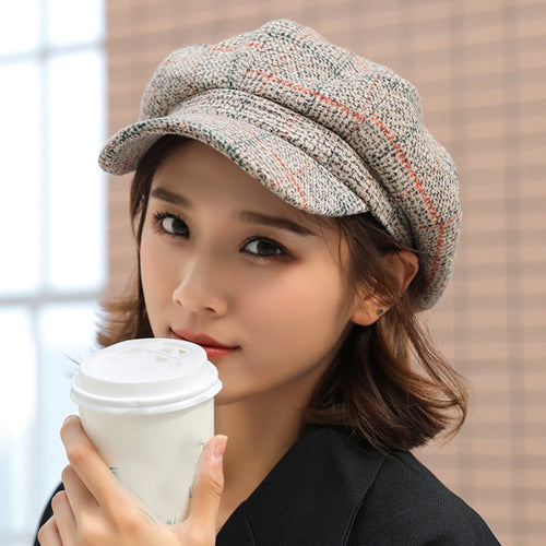 HT1991 Women Men Wo Felt Berets High Quality Autu Winter Hat Thick Warm Unisex Octagonal Newsboy Cap Retro Plaid Beret Cap
