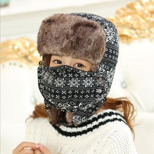 HT534 Winter Mask Bomber Hat Snow Flowers Russian Ushanka Hat Earflap Russian Fur Hat Classic Trapper Hats for Women