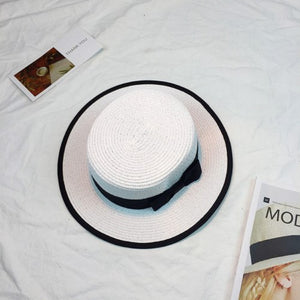 HT915 Women Boater Sun Caps Ribbon Bow Round Flat Top Straw Fedora Panama Hat Summer Hats for Women White Straw Beach Sun Hats
