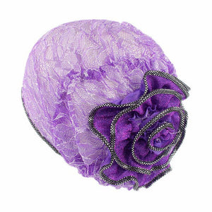 Colorful New Fishnet Mesh Wig Cap Stretchable Lace Chemo Caps Chiffon Flower Muslim Adjustable Strap Bonnet Hats