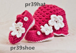 Handmade Baby girl Crochet Mary Jane's and beanie, infant bootie and hat set