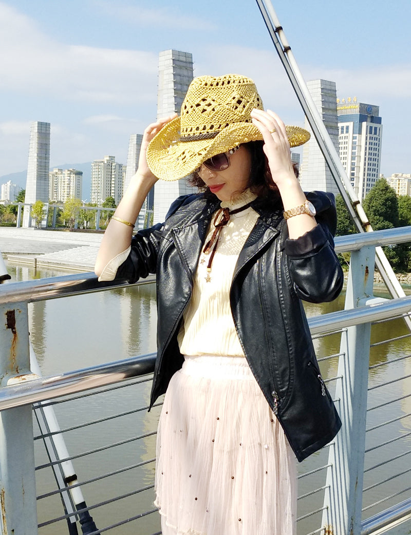 Happy sunday 2017 Fashion Hollow Adult Cowboy Hats High Quality Paper women's Straw Hats Decoration Women's Cowboy Hats Caps
