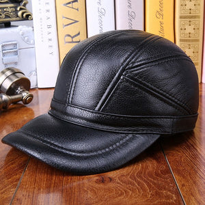 d133006362b Hat Factory Genuine Cowhide Hat Real Cow Leather Baseball Caps For Men Brown  Earflap Style Cap Brand Man Winter Warm Accessories