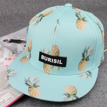 Load image into Gallery viewer, Hawaiian Style Women Tropical Fruit Baseball Cap Flat Bill Panel Snapback Hat Blue Pink Black White
