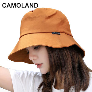 High Quality 100% Cot Women Bucket Hats Solid Panama Summer Fishing Hat Female Caps Large Wide Brim Sun Hat Hiphop Unisex Men