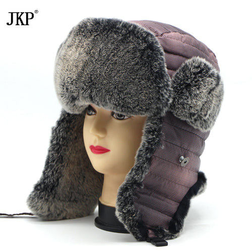8bb87d9d4bc ... Caps Cap Bomber Hat For Women. High Quality 100% Genuine Rabbit Fur  Winter Hats With Ears Flaps Snow Hot Outdoor Russian