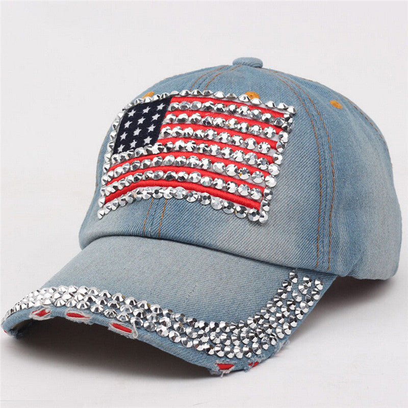 High Quality Cowboy Hip-Hop Baseball Cap Full Diamond Flat Snapback Hat