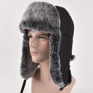 High Quality Mens 100% Real Rex Rabbit Fur Winter Hats Lei Feng hat With Ear 788730a820a