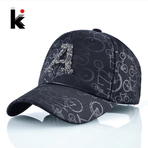 High Quality Unisex Baseball Hat For Men And Women Solid Snapback Bone Casquette Rhinestone Letter A accessories K pop Casquette