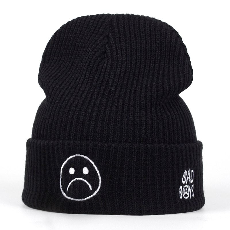 High Quality sad boy Crying face Very Casual Beanies For Men Women Fashion Knitted Winter Hat Hip-hop Skullies cap Hats