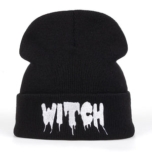 Hot New Black Acrylic Embroider Letter WITCH Beanies Hats For Women Men Unisex Adult Casual Skullies Winter Caps Knitted Gorros