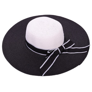 46dfd871f70d81 Hot Sale Fashion Large Brimmed Hat Hepburn Wind Black White Striped Bowknot  Summer Sun Hat Beautiful