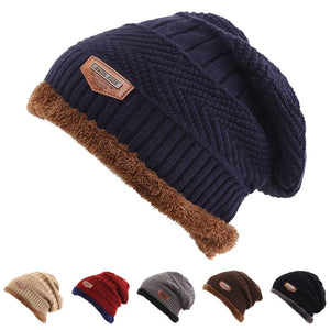 614db3edebf Hot Selling Ski Cap Cold Warm Leather Winter Hat For Women Men Knitted Hat  Bonnet Warm