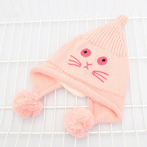 Hot Selling Unisex Women Men Winter Hat Snap Cartoon Cat Knit Hip Hop Beanie Warm Cap Bonnet femme Solid Color Cheap Caps