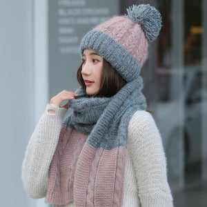 Hot Ski Girl 2018 New Brand Color matching Knitted Hats Scarf Hat Set Women's Winter Hat Thick Beanie Skullies Female Hood