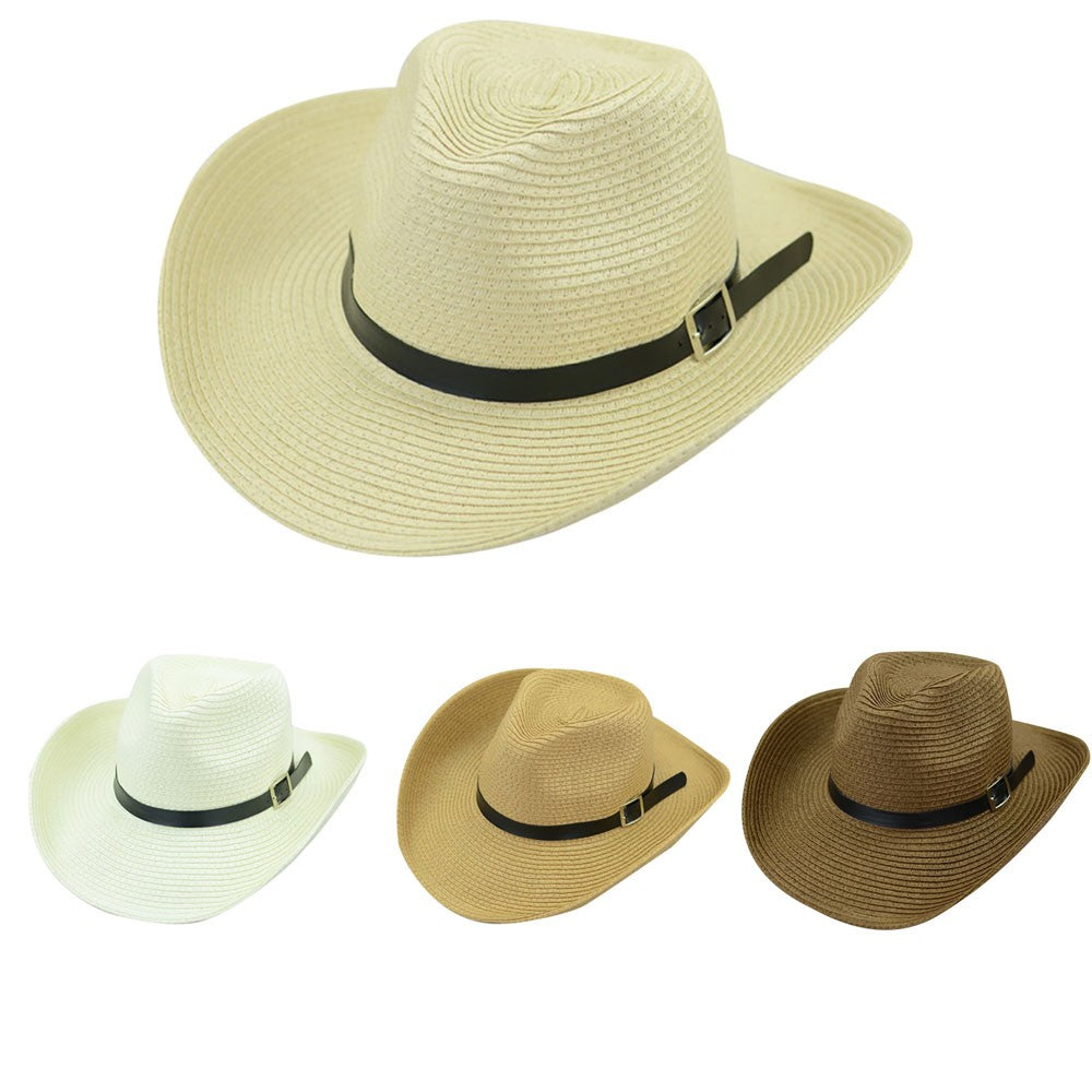 Hot Unisex Women Men Sun Hat Fashion Summer Casual Trendy Beach Sun Straw Panama Jazz Hat Cowboy Fedora Hat Gangster Cap