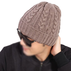 Hot ZIYI Man Beanies Crochet Hats  Warm Wo Knit Hat Turban Knitted Hat Khaki