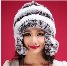 Load image into Gallery viewer, Hot selling cheap winter warm Ear protector cap , genuine rabbit fur knitting hat, female winter fur hat