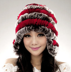 Hot selling cheap winter warm Ear protector cap , genuine rabbit fur knitting hat, female winter fur hat
