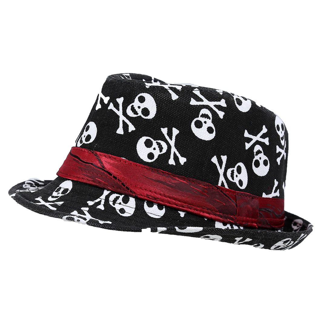 IMC Kids Baby Boys Girls Cap Fedora Hat - Black with Skull Pattern