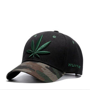 2018 New Fashion Embroidery Maple Leaf Cap Weed Snapback Hats For Men Women Cotton Swag Hip Hop Fitted Baseball Caps
