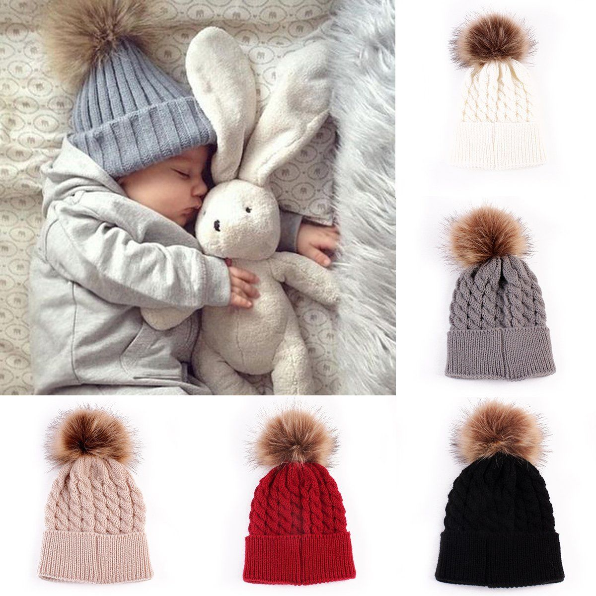 eed6035a4 Infant Winter Warm Knit Crochet Caps Baby Beanie Hat Toddler Kid Faux Fur  pom pom Knit skullies ski Cap 0-3 years