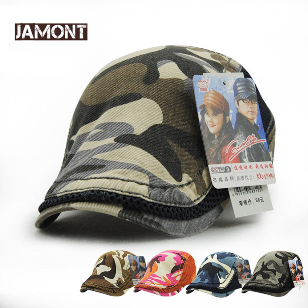 Camouflage Mesh Type Solid Color Cot Caps Men Women Lovers SunShade Summer Caps Korean Style Hats For Adult