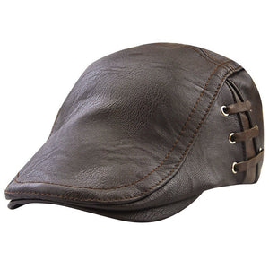 Winter PU Caps Leather Windproof Man Beret Cap For Male Senior Men Winter Autumn Hat Black Brown Protection Warm Hats