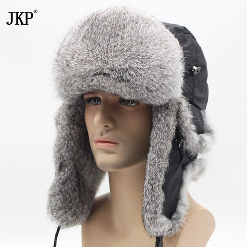 2018 Bomber thick fashion Rabbit Fur hat winter warm rex snow cap Ear Flap caps russian for men hat new discount YT-001