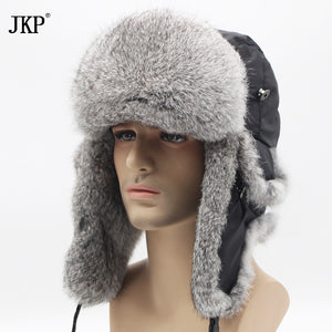 cee10aa7b87 2018 Bomber thick fashion Rabbit Fur hat winter warm rex snow cap Ear Flap  caps russian for men hat new discount YT-001