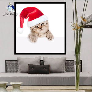 5D 3D Diy Diamond Painting Full Square Rhinestone Animals with Christmas Hats Cross Stitch Embroidery Needlework 7