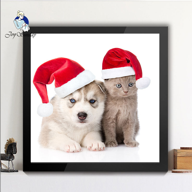 5D 3D Diy diamond painting animal square rhinestones wearing a Christmas hat cat and dog home wall decoration 7