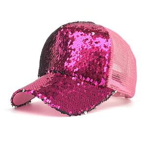 2018 Spring summer New Sun hat Fashion style Woman favorite bling bling glitter Mesh Baseball Cap Casual leisure hat B529