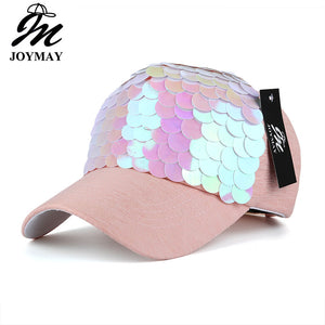 Spring New Fashion Women Baseball cap with Sequins Shining Bling Adjustable Leisure Casual Snapback HAT B438