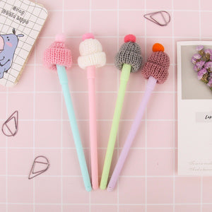 JUNHUI 4 Pcs/Lot Cute Stocking Hat With Red Bobble Gel Pen 0.5mm Ballpoint Black Color Ink Pen Stationery Office Scho Supplies