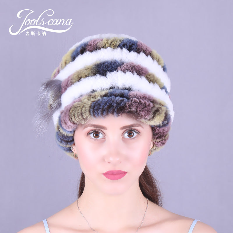 Real rabbit hats for women winter hat women cap winter beanie genuin rabbit knitted cap with brim beautiful skullies