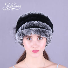 Load image into Gallery viewer, Real rabbit hats for women winter hat women cap winter beanie genuin rabbit knitted cap with brim beautiful skullies