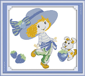 Blue hat girl DMC Counted Chinese Cross Stitch Kits printed Cross-stitch set Embroidery Needlework