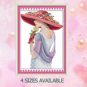 JoySunday crossstitch Beauty woman hat shawl cappa baby room embroidery DMC14CT11CT cot needlework livingroom home painting