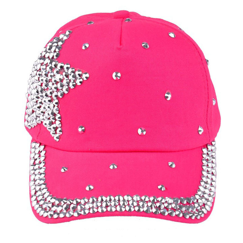 June 6 Fairy Store   New Fashion Baseball Cap Rhinestone Star Shaped Boy Girls Snapback Hat