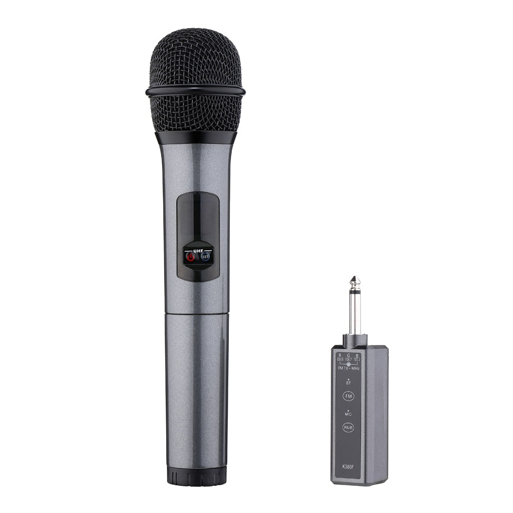 K380F Karaoke Microphone Wireless Bluetooth Microphone Portable Handheld Microphone with Receiver for Bar KTV Party Speech