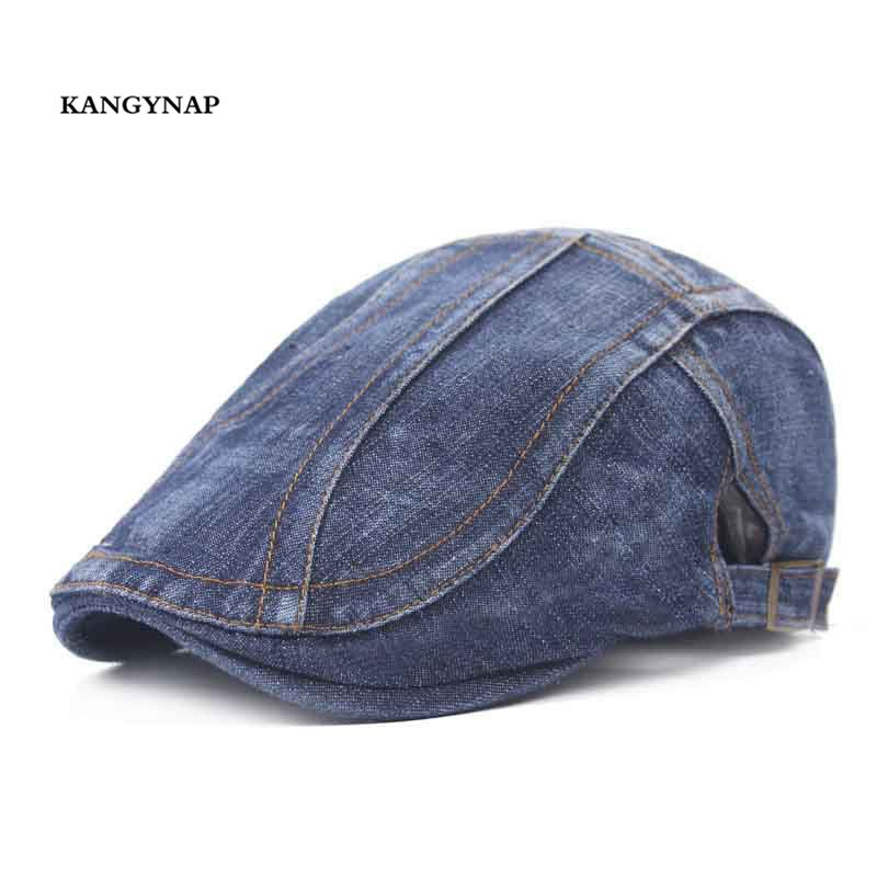 [KAGYNAP] Retro Fashion Men Women Beret Caps Casual Cowboy  Hats Mens Classic Peaked Caps Solid Color Simple Flat Cap Dad Hat